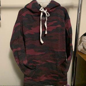 red camp Victoria secret PINK bling Sherpa hoodie
